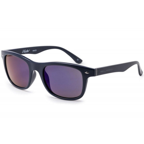 Bloc Wafer Junior Sunglasses Navy - Blue Mirror Cat.3 Lens