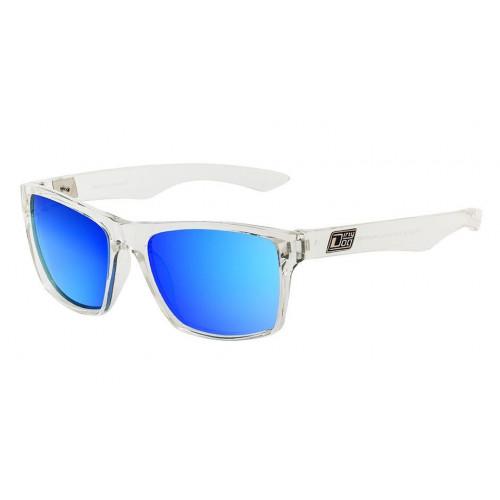 Dirty Dog Vendetta Sunglasses Crystal - Grey Blue Fusion Mirror Polarised Lens