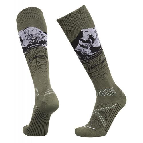 Le Bent Le Send Pro Unisex Ski + Snowboard Socks Lichen Green