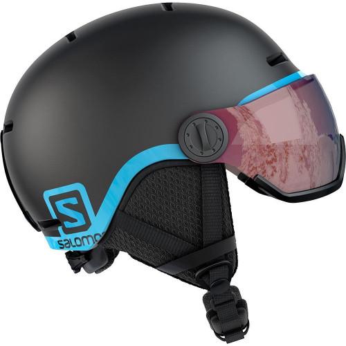 Salomon Grom Visor Junior Ski & Snowboard Helmet Black - Universal Lens