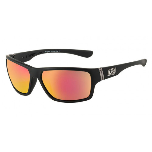 Dirty Dog Storm Sunglasses Satin Black / Grey - Red Fusion Mirror Polarised Lens