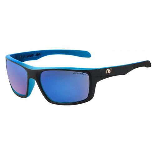 Dirty Dog Axle Sunglasses Satin Black Blue - Blue Mirror Lens