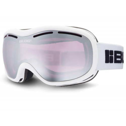Bloc Drift Womens Goggles Matt White - Light Purple Mirror Silver Lens