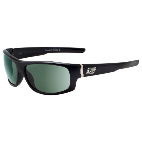 Dirty Dog Bat Sunglasses Shiny Black Green Polarised Lens