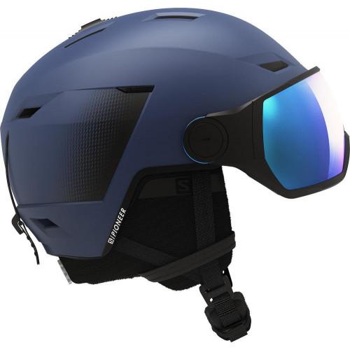 Salomon Pioneer LT Visor Ski + Snowboard Helmet Blue - Universal Lens