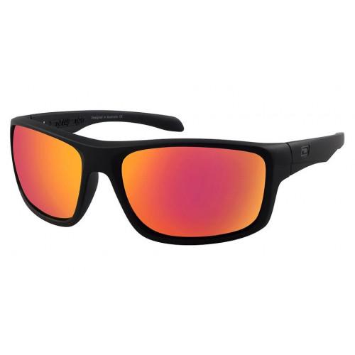 Dirty Dog Axle Sunglasses Satin Black - Purple Fusion Mirror Polarised Lens