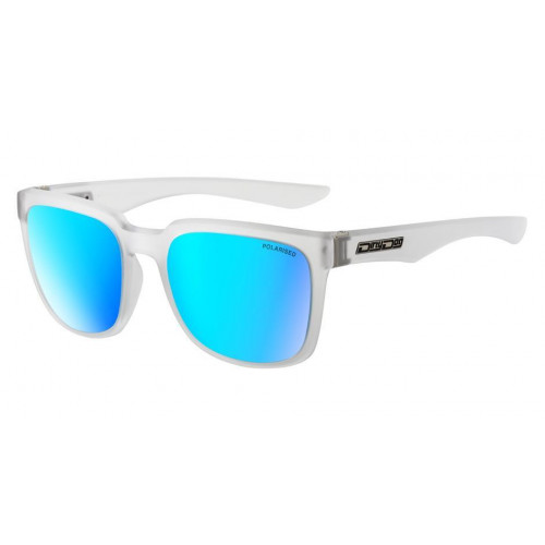 Dirty Dog Blade Sunglasses Matt Crystal Clear - Grey Ice Blue Mirror Polarised Lens