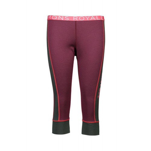 Mons Royale Alagna 3/4 Womens Thermal Leggings Burgundy / Forest Green