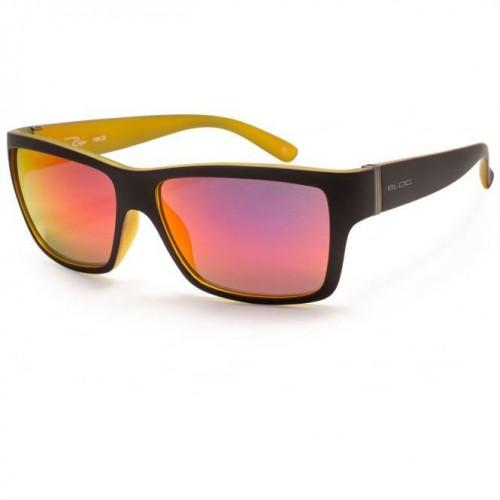 Bloc Riser Sunglasses Matt Black With Yellow - Red Mirror Lens