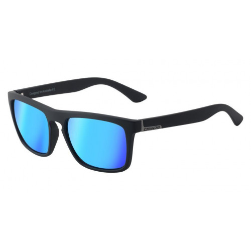 Dirty Dog Ranger Sunglasses Satin Black - Ice Blue Mirror Polarised lens