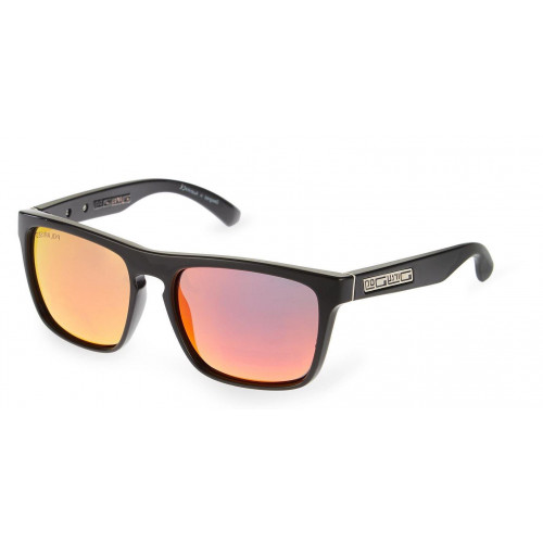 Dirty Dog Monza Sunglasses Shiny Black - Purple Polarised Lens