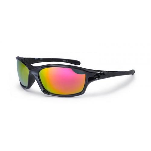 Bloc Daytona Sunglasses Shiny Black Red Lens