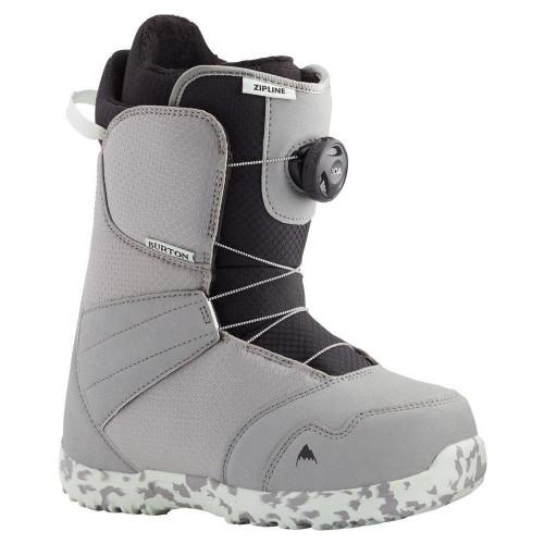 Burton Zipline BOA Kids Snowboard Boots Gray/Neo-Mint 2021