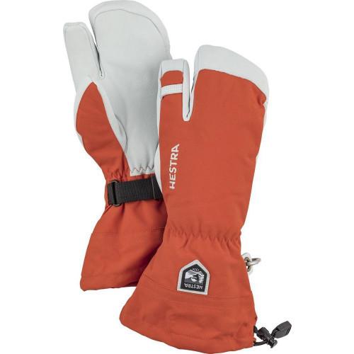 Hestra Army Leather Heli Ski 3 Finger Mitts Brick Red