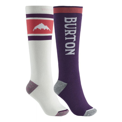 Burton Womens Weekend Midweight Snowboard Socks 2Pk Stout White