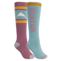 Burton Womens Weekend Midweight Snowboard Socks 2-Pack Rose Brown/Trellis
