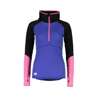 Mons Royale Womens Bella Tech Hood Merino Top Ultra Blue / Black